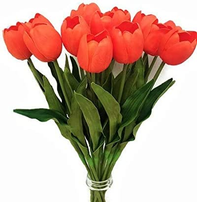 Floral Kingdom 19 Real Touch Latex Tulips for Artificial Flower Arrangements Home//Office Decor Pack of 8 Bridal Bouquets Blush Pink