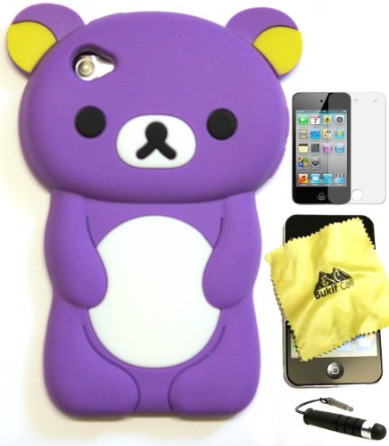 BUKIT CELL (TM) PURPLE Bear 3D Cartoon Soft Silicone Skin Case Cover for IPOD TOUCH 4 4G 4TH GENERATION + Free Screen Protector + Free METALLIC Detachable Touch Screen STYLUS PEN with Anti Dust Plug [bundle - 4 items: case, cloth, stylus pen and screen protector]