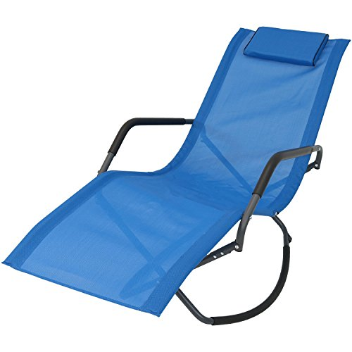 Sunnydaze Rocking Chaise Lounge Chair with Headrest Pillow, Outdoor Folding Patio Lounger, Blue