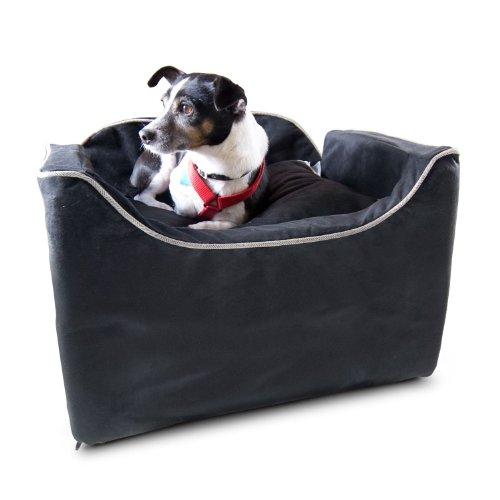 Small Micro Suede Pet Car Seat - Black W/ Herringbone