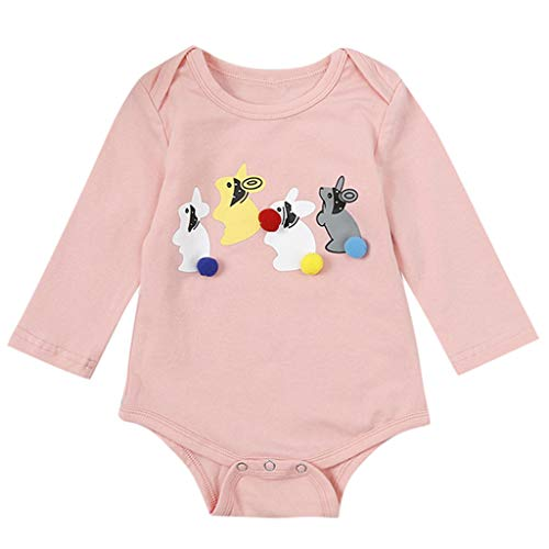 Romper Tops Toddler Baby Girls Cartoon Rabbits Pom Solid Long Sleeve Sunsuit One Piece Cotton Romper Bodysuit (12-18 Months, Pink)