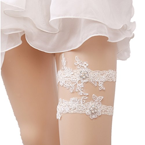 Lace Wedding Garter Set for Bride with Lucky Charms, Ivory Accessories, Strech (Keepsake Bridal Garter)