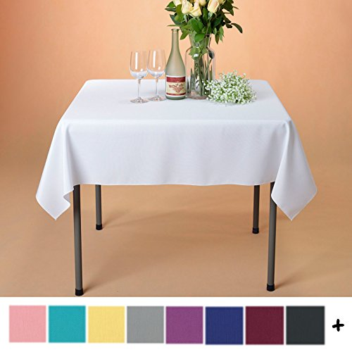 Remedios Tablecloth 54-inch Square Polyester Table Cover - Wedding Restaurant Party Banquet Decoration, White