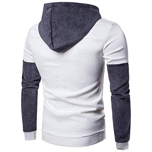 Tops Hommes Xluk Zhrui Couleur Longues Veste Outwear Manteau Taille Chaud Cn Sweat Capuche Manches À 16 À Blanc Gris wt0aqt
