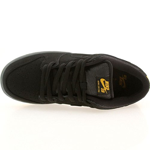 Nike SB Dunk Low Pro SB del hombre Black/Black-University Gold