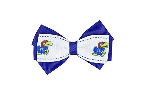 aminco NCAA Kansas Jayhawks Women's 2-Tone Bow Hair Clip, One Size