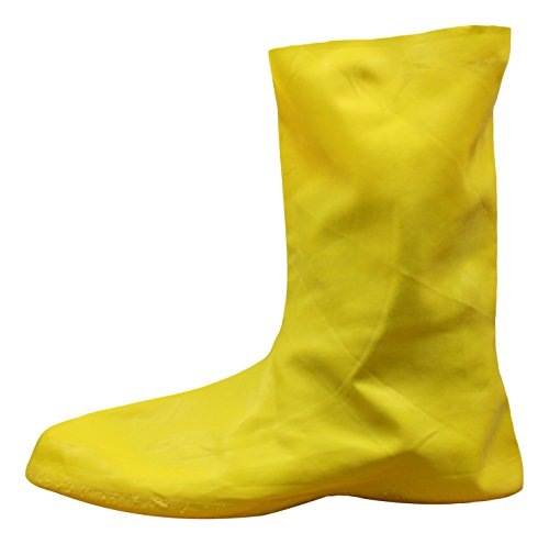 Cordova Safety Products LBC10M Yellow Natural Rubber Over-Shoe Style Hazmat Boots, Medium -