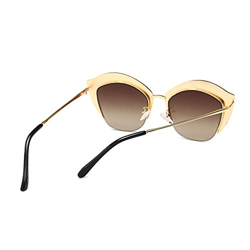 mujer UV400 Cat mujer gafas gafas Eye sol TL sol marrón medio de en oro Sunglasses marco de metal Rhinestone Uwqf0fTA