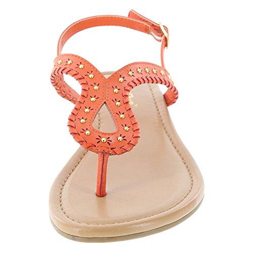 Brash Wishful Embellished Flat Orange Women's Sandal gw8q87zn