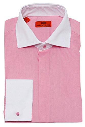 (Steven Land DW516 Men's Trim Fit French Cuff Cotton Solid Poplin Dress Shirt - Pink - 18.5 4-5)