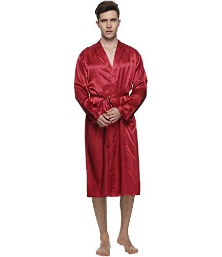 Red Robe Mens (FAYBOX Men Satin Robe Long Bathrobe Lightweight Sleepwear RED)
