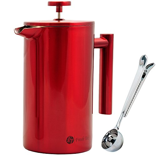 Best Stainless Steel French Press Coffee Espresso Maker With Markings. Won't Break Like Your Glass One! Large, Insulated for Hot Coffee or Tea. 34oz Pot Plus Bonus Scoop and Polishing Cloth. Red.