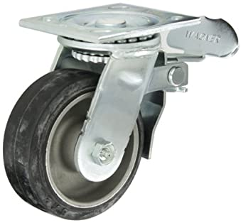 """E.R. Wagner Plate Caster, Swivel with Total-Lock Brake, Rubber on Aluminum Wheel, Roller Bearing, 350 lbs Capacity, 5"""" Wheel Dia, 2"""" Wheel Width, 6-1/2"""" Mount Height, 4-1/2"""" Plate Length, 4"""" Plate Width"""