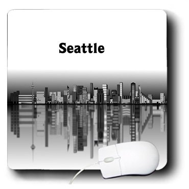 3drose Image De Seattle Dessin Animé Paysage Urbain En Noir
