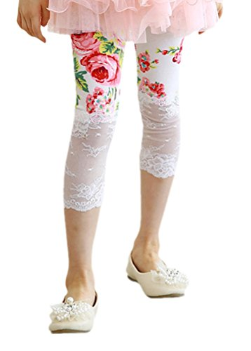 Toddlers Baby Little Girls' Floral Flower Print Lace Trim Leggings