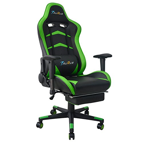 Taurus Ergonomic High-back Large Size Office Desk Chair Swivel Black PC Gaming Chair with Retractible Footrest (Green) For Sale