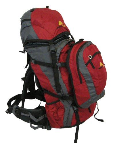 Guerrilla Packs Voltij Travel Backpack with Detatchable Daypack (Red, 55-Liter + 10-Liter), Outdoor Stuffs