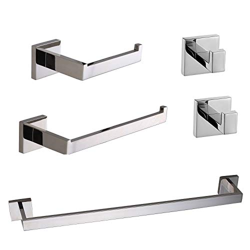 TRUSTMI 5-Piece Bathroom Accessory Set Robe Hook Towel Bar Toilet Roll Paper Holder Towel Ring Wall Mounted, SUS 304 Stainless Steel, Chrome (Delta Bathroom Accessory Set)