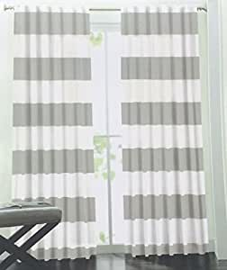 Hillcrest Wide Stripes Curtains 2 Panels 52 by 96 inch Nautical Cabana Stripes Modern Window Drapes Cotton 2 Panels Hidden Tabs Grey Gray White