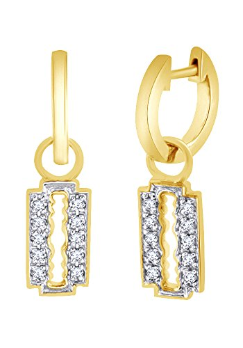(Round Cut White CZ Gothic Razor Blade Dangle Earrings In 14K Yellow Gold Over Sterling Silver)