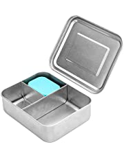 WEESPROUT 18/8 Stainless Steel Bento Box (Compact Lunch Box) | 3 Compartment Metal Lunch Containers for Kids/Adults | Bonus Dip Container | Germ-Resistant Bento Box | Fits in Lunch Bag/Backpack
