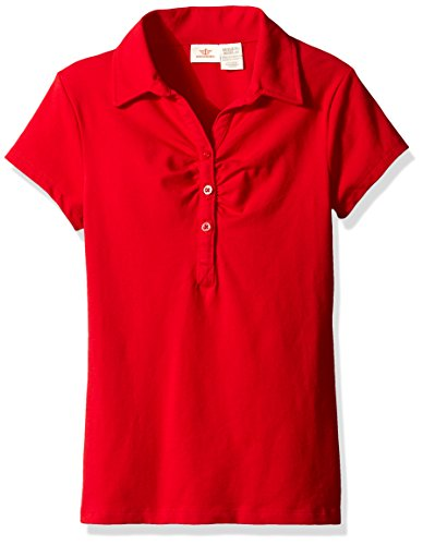 Dockers Big Girls' Uniform Short Sleeve Stretch Jersey Polo with Shirring, Red, S (7) by Dockers