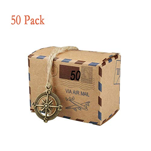 50 PCS Candy Gift Boxes, Bestga DIY Kraft Boxes Retro Post Mail Style Wedding Party Favor Gift Boxes Xmas Cookie Treat Goody Paper Boxes Bags for Christmas, Birthday, Holiday, Thanksgiving - Compass]()