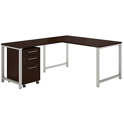 Bush Business Furniture 400 Series 60W x 30D L Shaped Desk with 42W Return and 3 Drawer Mobile File Cabinet in Mocha Cherry (Roll Off Levelers)