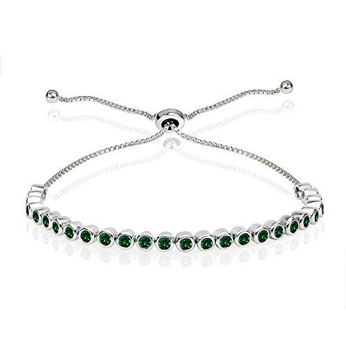 Sterling Silver Simulated Emerald 2mm Round Bezel-set Adjustable Dainty Tennis Bracelet