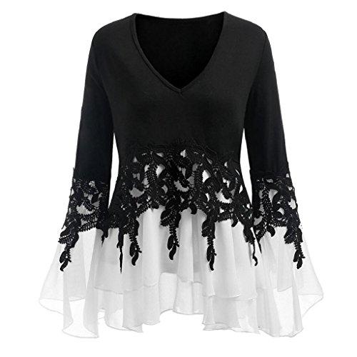Vest Silk Print (HGWXX7 Women's Fashion Plus Size V Neck Long Sleeve Chiffon Blouse Shirt Tops (3XL, Black))