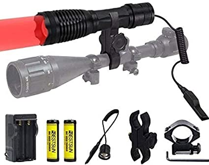 Details about  /350 Yard Red Light LED Coyote Hog Predator Coon Hunting lights Torch Rifle Mount