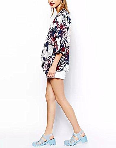 Cardigan Estate Bikini Stampato Donna Up Cover Coprono Copricostume 4 Elegante Vintage Camicetta Mare Boho Moda Floreale Mare Spiaggia Kimono 3 Manica La Rosso zwTzEIq