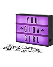 My Cinema Lightbox Mini Colour-Changing Marquee Light Box, with 100 Letters & Symbols to Create Signs, White LED Plus RGB Colour Cycle and Freeze Mode, Letter Storage, USB or Battery Powered, A5 Size