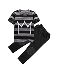 Magical Baby Little Boys Short Sleeve Striped Crown Print T-Shirt Pants Outfit