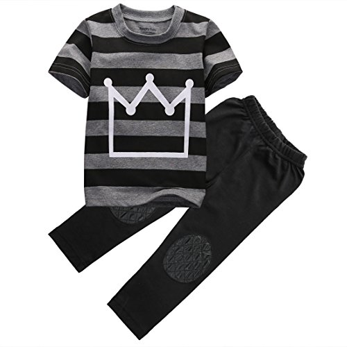 Print Striped T-shirt (Little Boys Short Sleeve Striped Crown Print T-shirt and Pants Outfit (4T(4-5Y)))