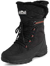Womens Memory Foam Faux Fur Cuff Deep Tread Non Slip Rubber Sole Winter Snow Thermal Outdoor Boots