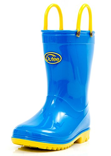 Outee Kids Boys Girls Rain Boots Waterproof Shoes Blue Lightweight Cute Lovely Funny with Easy-On Handles Classic Comfortable Removable Insoles Anti-Slippery Durable Sole with Grip (Size 1,Blue)