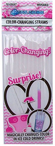 Baby Gender Reveal Pink  Color Changing Straws by Cool Change