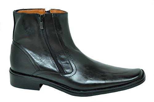 Baronett Mens Dress Ankle Dual Zip Genuine Leather Boots 7923-1 Black rTREmz90w