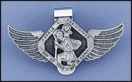 st-christopher-patron-saint-of-travelers-auto-visor-clip-with-angel-wings