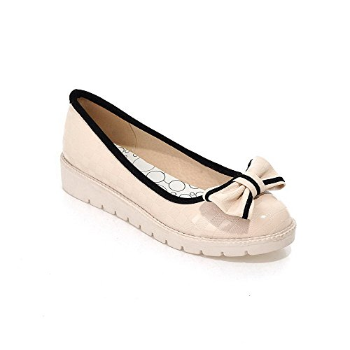 Solid Round WeiPoot Beige Leather Closed Shoes on Toe Pull Women's Patent Pumps Heels Low qOrgX8O