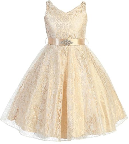 (Little Girls Lace Floral Pattern Satin Sash Flowers Girls Dresses Champagne)