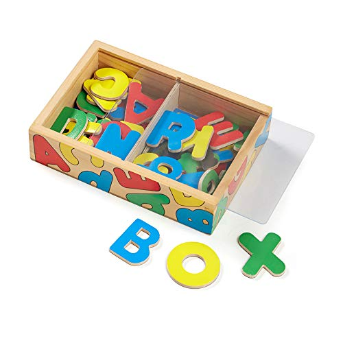 Melissa & Doug 52 Wooden Alphabet Magnets in a Box (Developmental Toys, Sturdy Wooden Construction, 52 Pieces, Great Gift for Girls and Boys - Best for 3, 4, 5, and 6 Year Olds)