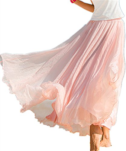 Pleat Skirt Dress (Mullsan Women Retro Vintage Double Layer Chiffon Pleat Maxi Long Skirt Dress (A Pink))