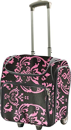 Couture Creations Craft Rolling Travel Trolley-Pink Damask