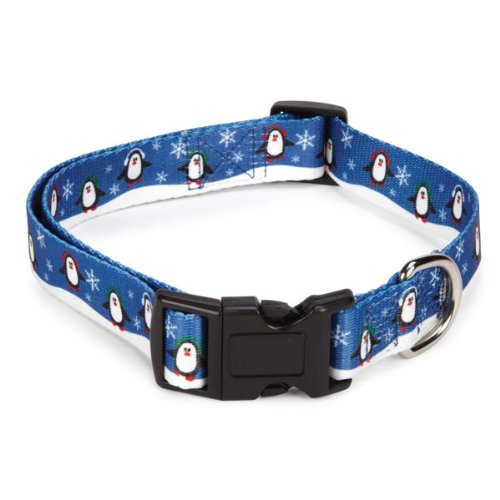 Casual Canine Polyester Holly Jolly Dog Collar and Lead Set, 14 to 20-Inch, Penguins