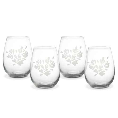 Pfaltzgraff Yorktowne All-Purpose Stemless Wine Glass (20 Ounce, Set of 4) (Etched Floral Wine Glasses)