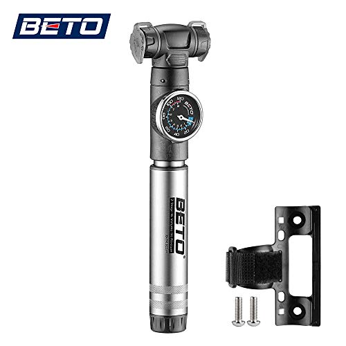 Beto Mini Bike Pump with Gauge- 2 Stage Portable Bicycle Tire Air Inflator- Mounting Bracket Included