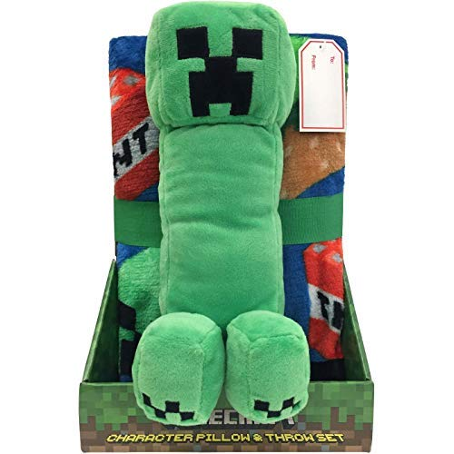 Franco Minecraft Throw and Pillow Green -
