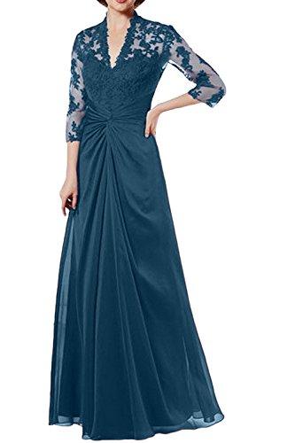 La Festlich mit Abendkleider Braut Brautmutterkleider Dunkel Ballkleider Langarm Rot Blau Marie Damen Festlichkleider BfBOS